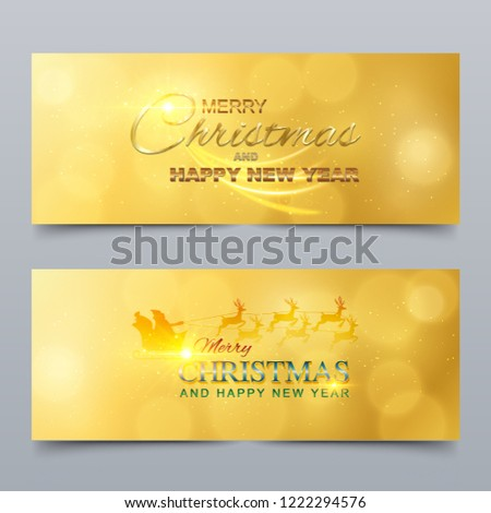 merry christmas and happy new year banner greeting card design vector illustration