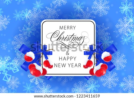 merry christmas and happy new year blue postcard design inscription in white frame with frozen