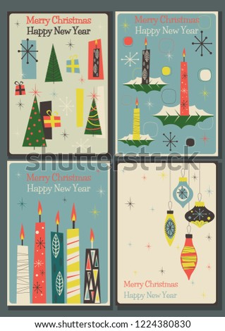 merry christmas and happy new year mid century modern greening cards
