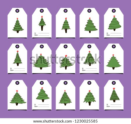 merry christmas and happy new year gift tags with hand drawn fir trees