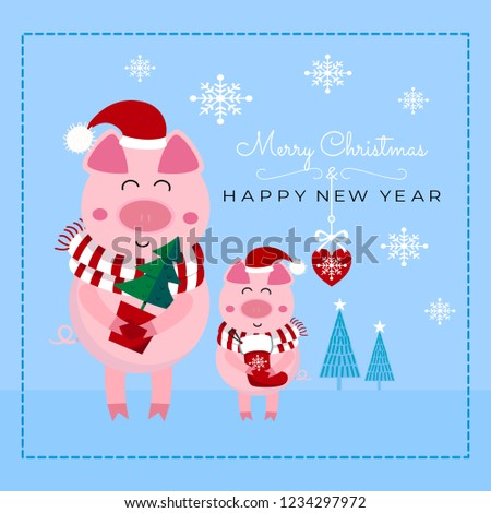 merry christmas happy new year cardfather and son piglet with christmas tree