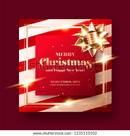 merry christmas and happy new year 2019 greeting card background minimalist xmas poster design