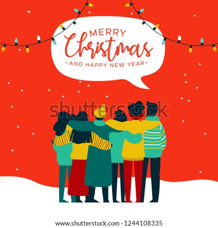 merry christmas and happy new year greeting card illustration of young people friend group hugging together