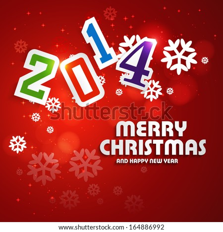 Merry Christmas Happy New Year 2014 Stock Vector (Royalty Free ...