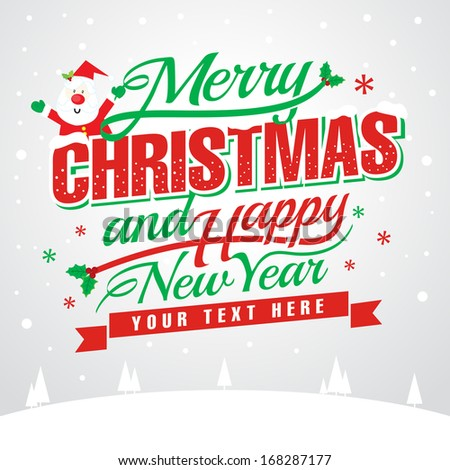 merry christmas and happy new year message vector illustration esp w
