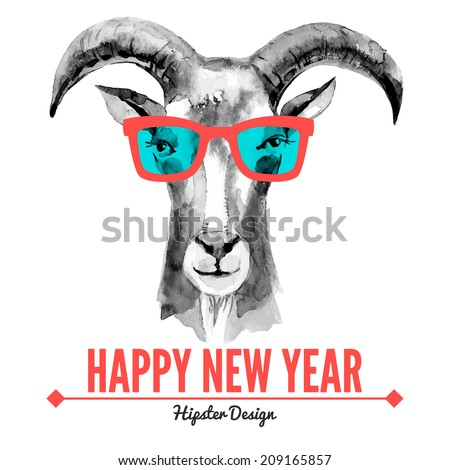 merry christmas and happy new year card with watercolor portrait of hipster goat hand drawn
