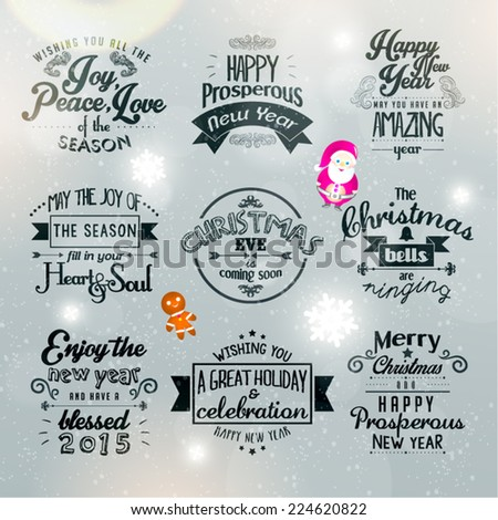 Merry Christmas Happy New Year 2015 Stock Vector (Royalty Free ...