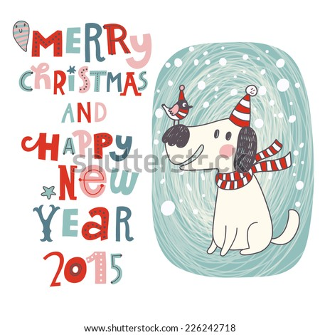 merry christmas and happy new year background in vector cartoon holiday card with cute dog