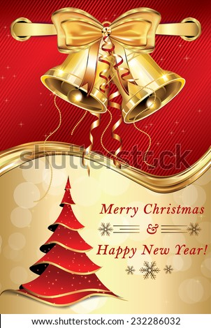 merry christmas and happy new year red golden greeting card for print with elegant
