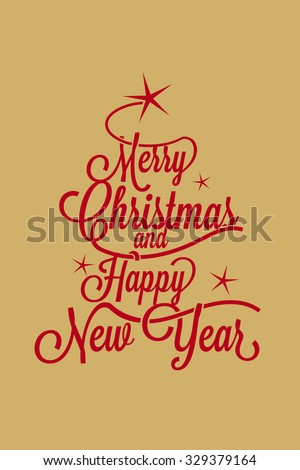merry christmas and happy new year greetings postcard with calligraphic text