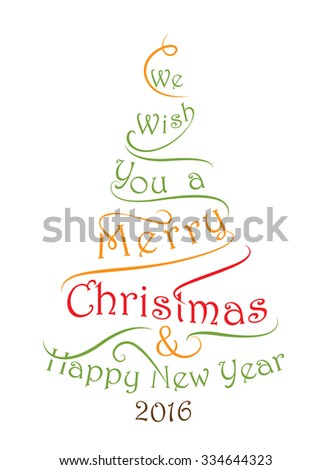 Merry Christmas Happy New Year Wish Stock Vector (Royalty Free ...