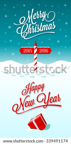 Merry christmas happy new year greeting stock vector royalty free merry christmas and happy new year greeting card with border between years 2015 and 2016 m4hsunfo