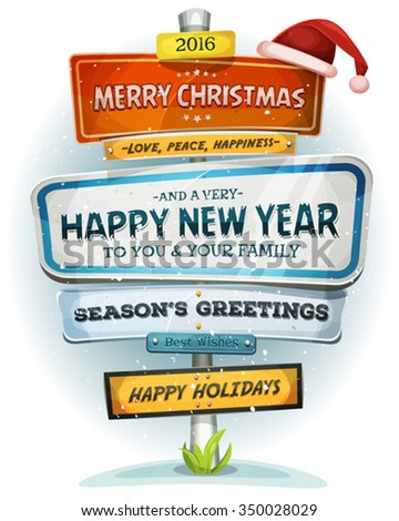 merry christmas and happy new year on urban signpost illustration of a cartoon comic urban