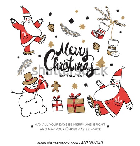 merry christmas and happy new year christmas square greeting card with calligraphy cute santa