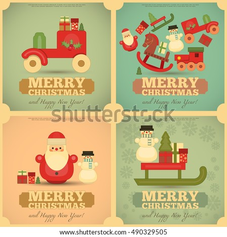 merry christmas and happy new year cards set in retro style vintage toys collection