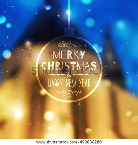 merry christmas and happy new year vector blurred background of prague view and snowfall