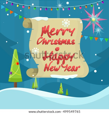 merry christmas and happy new year colorful banner isolated on winter background with snow christmas
