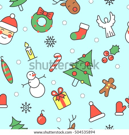 merry christmas and happy new year seamless pattern with santa snowman fir tree winter