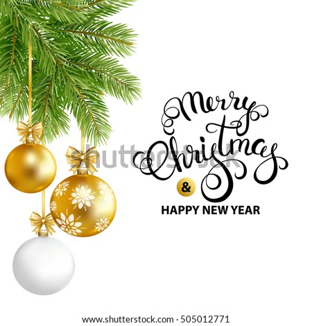 merry christmas and happy new year card with gold white balls and fir tree