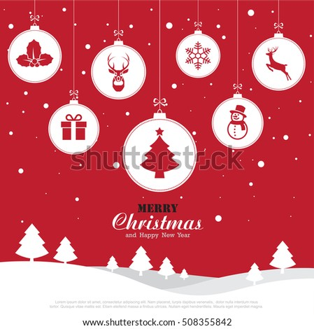merry christmas and happy new year background illustration eps10