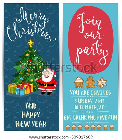 merry christmas and happy new year greetings card template of christmas party invitation