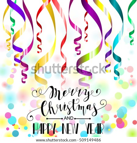 merry christmas and happy new year card colorful paper streamers and confetti retro vector