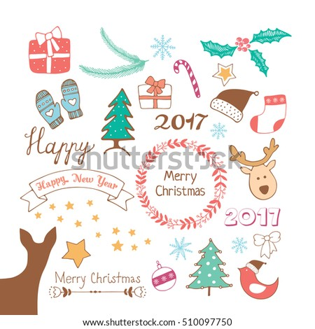 merry christmas and happy new year doodles set vector illustration