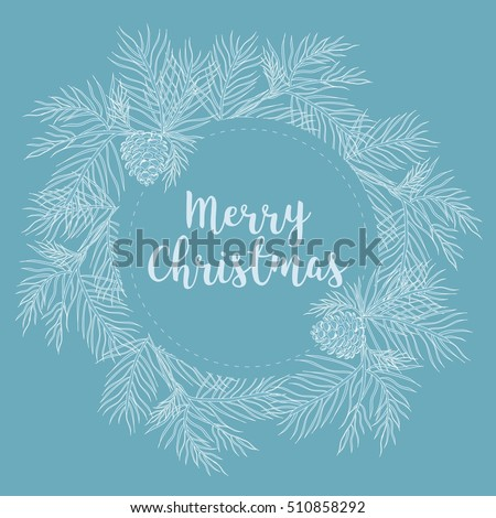 merry christmas and happy new year banner with fir branches vector illustration beautiful christmas