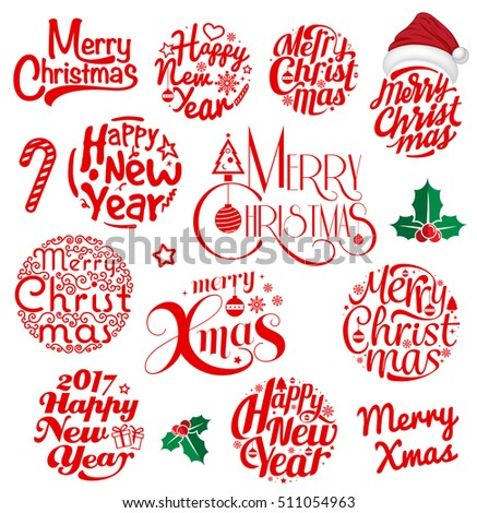 merry christmas happy new year 2017 typography set vector circle logo