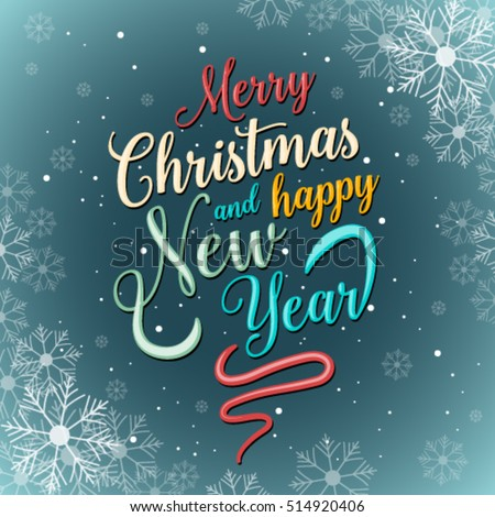 merry christmas and happy new year greeting card vector illustration modern holiday postcard with