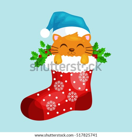 547e04a6960a Merry Christmas and happy new year, animals holiday Cat in Santa xmas Sock  Vector Illustration
