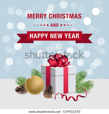 merry christmas and happy new year card design with gift box and decorations on bright bokeh