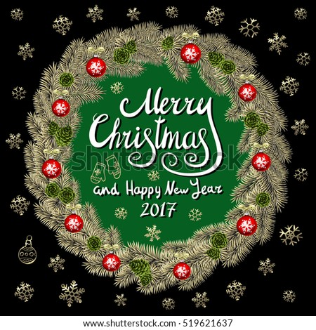 merry christmas and happy new year 2017 vintage background with typography card with gold christmas wreath