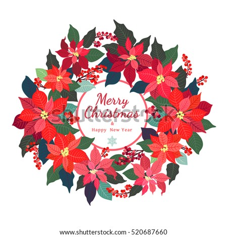 merry christmas and happy new year card christmas wreath poinsettia plant holly