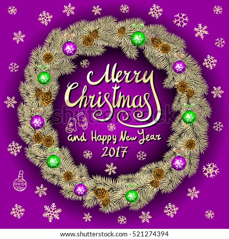 merry christmas and happy new year 2017 vintage pink background with typography card with gold christmas