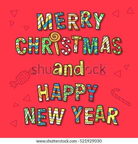 merry christmas and happy new year funny postcard with drawn text