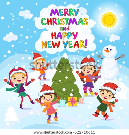merry christmas and happy new year 2017 winter fun cheerful kids playing in
