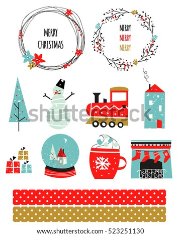 merry christmas happy new year set scandinavian christmas design vector illustration snowman