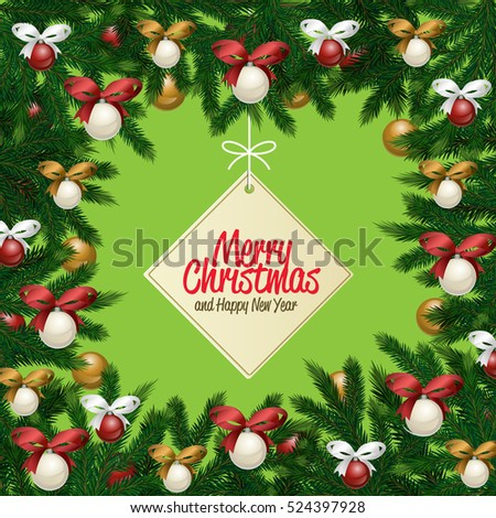 merry christmas and happy new year greetings vector illustration xmas label with greeting message on