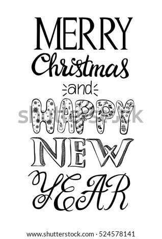Merry christmas happy new year greeting stock vector royalty free merry christmas and happy new year greeting card christmas hand drawn postcard different m4hsunfo