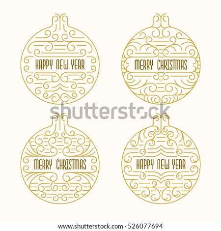 Merry Christmas Happy New Year Badges Stock Vector (Royalty Free ...