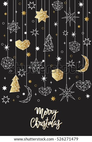 merry christmas and happy new year card template in geometric style holiday composition with star