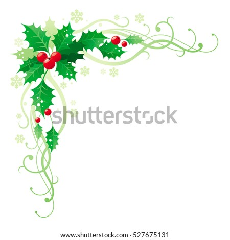 merry christmas happy new year square corner banner frame border with holly berry leafs