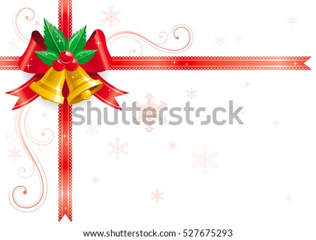 merry christmas happy new year corner horizontal border banner with holly berry leafs red