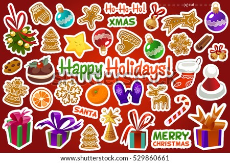 merry christmas and happy new year sticker label decorations modern style vector postcard template stylish