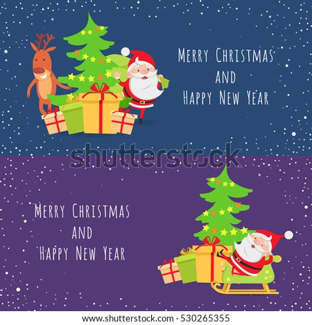 Merry Christmas Happy New Year Set Stock Vector Royalty Free