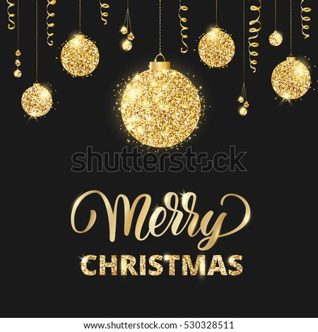 merry christmas and happy new year card with lettering and glitter decoration black and gold
