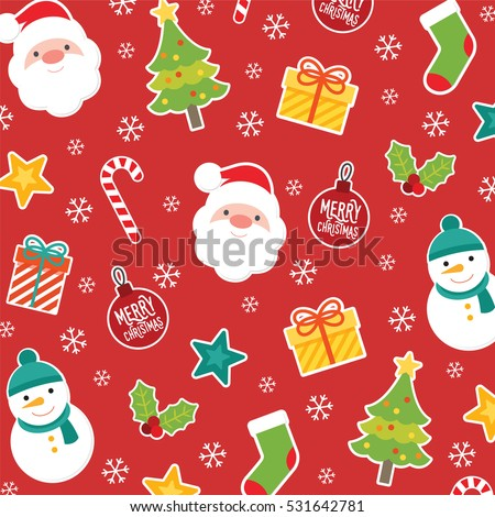 merry christmas and happy new year pattern collection with holiday characters santasnowman