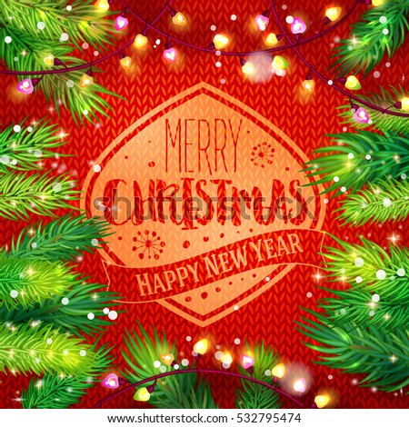 merry christmas and happy new year card with fir and garland frame on knitting background