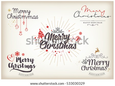 Merry Christmas Happy New Year 2017 Stock Vector (Royalty Free ...